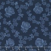 Abigail Blue - Trellis Rose Navy Blue Yardage