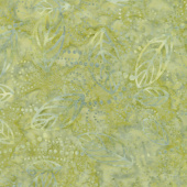 Ivy League Batiks - Floating Leaves Warm Green Yardage