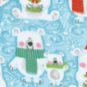 Winterfleece Prints Children - Snow Buddies Light Teal Fleece Yardage