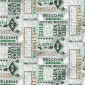 Cabin Welcome Flannel - Word Toss Gray Yardage