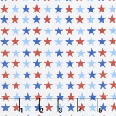 America Home of the Brave - Small Stars White Yardage