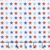 America Home of the Brave - Small Stars White Yardage