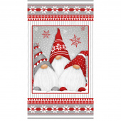 Winter Whimsy - Gnomes Red Gray Flannel Panel