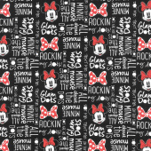 Disney Minnie Mouse Dreaming in Dots - Minnie All About the Dots Black Yardage