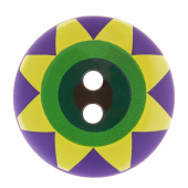 "Kaffe Fassett Button - 3/4"" Violet Multi Star Flower"