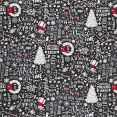 Let It Snow - Chalk Merry Christmas Tossed Black Yardage