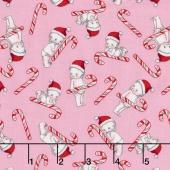 Kewpie Christmas - Christmas Candy Cane Pink Yardage