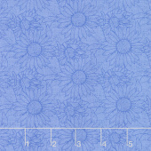 My Sunflower Garden - Outlined Sunflower Blue Yardage