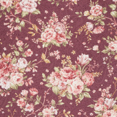 Zellie Ann - Erma's Bouquet Burgundy Yardage