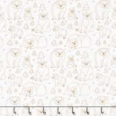 Beary Happy - Celebrating 50 Colorful Years with Brown Bear! Bear Doodle Brown Yardage