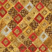 Gustav Klimt - Squares Diamonds Red Metallic Yardage