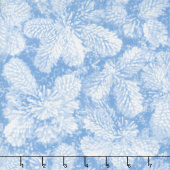 Pearl Frost - Frosty Pine Cones Ice Blue Pearlescent Yardage