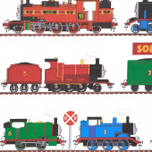 All Aboard with Thomas & Friends - Train Stripe White Yardage