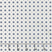 Star & Stripe Gatherings - Border Stars Ivory Blue Yardage