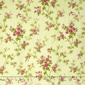 Poppies - Delicate Vine Soft Green Yardage