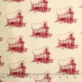 Little House on the Prairie - Scenic & Icons Wilder Wagon Red Yardage