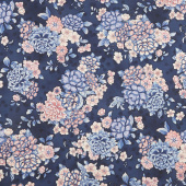 Calista - Flowers Navy Blue Pearlized Yardage