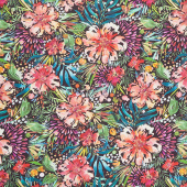 Moody Bloom - Wilderbloom Black Digitally Printed Yardage