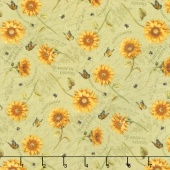 Follow the Sun - Tossed Sunflowers Green Yardage
