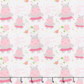 Sweet Baby Girl - Hippos White Yardage