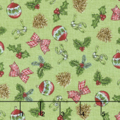 Spruce Mountain - Tossed Ornaments Lime Yardage