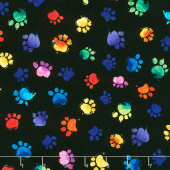 Cats - Multi Colored Paws Black Yardage