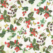 Briarwood - Feature Berries and Butterflies White Multi Yardage