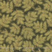 Cardinal Song Metallic - Pine Branches Ebony Yardage