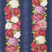 Floral Serenade - Repeating Stripe Multi Yardage