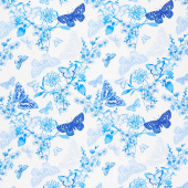 Maison Des Fleurs - Butterfly Belle White Yardage
