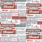Holiday Homestead - Words Red Gray Yardage