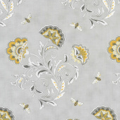 Bee Joyful - Bee's & Blooms Dove Grey Yardage