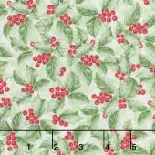Noel - Holly Berries Green Metallic Yardage