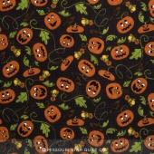 Pumpkin Party Flannel - Pumpkin Patch Black Brown Yardage