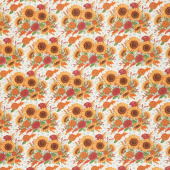 Happy Fall - Harvest Bouquet Farmhouse White Yardage