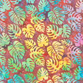 Punch Batiks - Philodendron Beaujolais Yardage