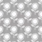 Hungry Animal Alphabet - Sunflowers Charcoal Yardage