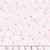 Love Grows - Swirly Hearts Whimsical White Yardage