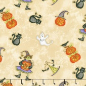Halloweenie - Tossed Halloweenies Light Tan Yardage
