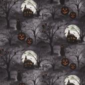 Frightful Night - Scenic Black Yardage