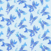 Misty - Butterfly Turquoise Digitally Printed Yardage