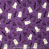 Pumpkin Party Flannel - Ghosts and Bats Purple Yardage