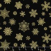 Cat-I-Tude Christmas - Playful Flakes Black Metallic Yardage