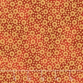 Imperial Collection 13 - Black Floral Dots Crimson Metallic Yardage