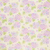 Natural Blooms - Bright Hydrangeas Lavender Yardage