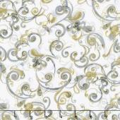 Zephyr - Swirly Scroll Cream Metallic Yardage