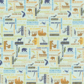 National Parks - Wordprint Sea Green Yardage