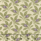 Sweet Violet - Violet & Leaves Ivory Yardage
