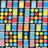 Sew Excited - Spools of Fun Black Yardage