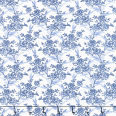 Blue Byrd - Floral Spray Porcelain Yardage